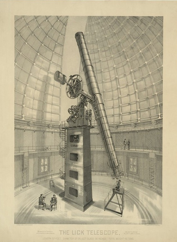 Lick Observatory Lithograph, 1889