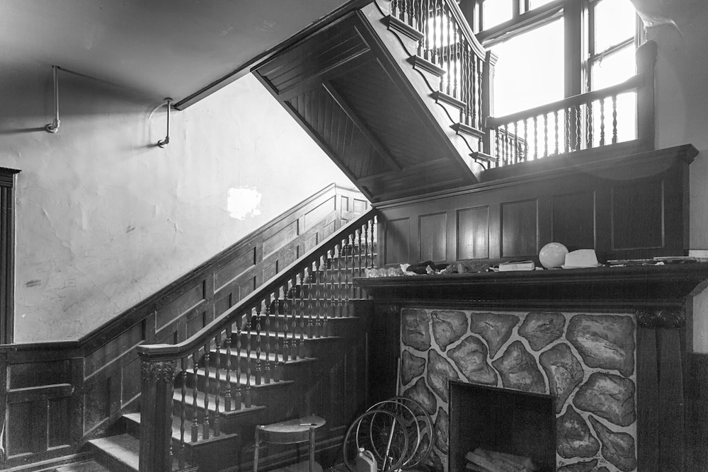 An Elegant Staircase and Fireplace