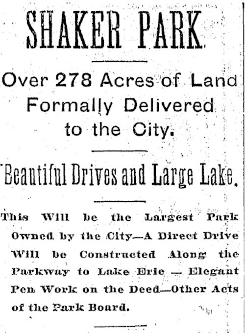 """""""Shaker Park"""" is Created, 1896"""