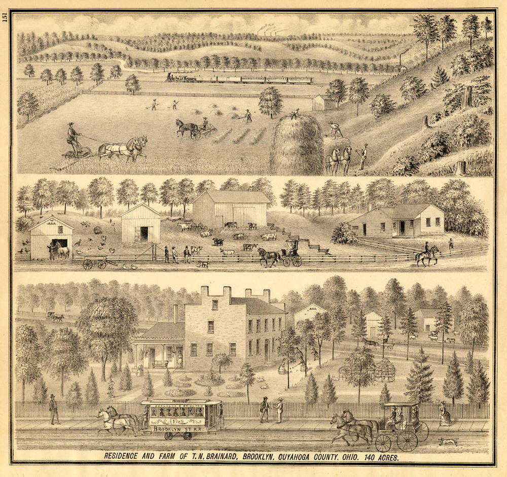 Residence and Farm of Titus N. Brainard, Future Site of Riverside Cemetery