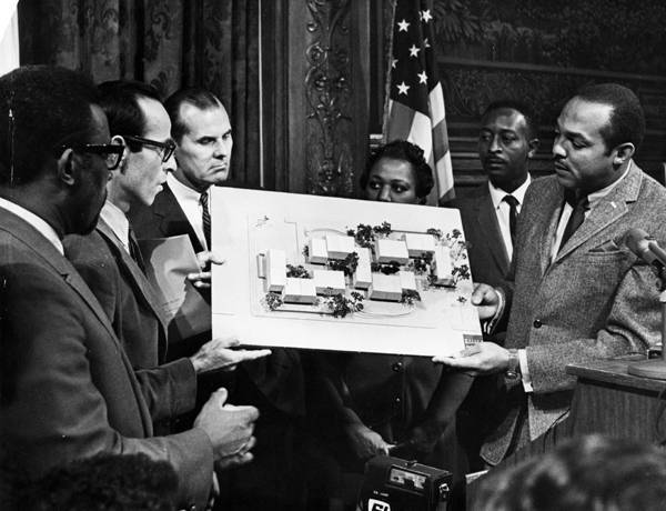 Mayor Stokes with Hough House Model, 1968