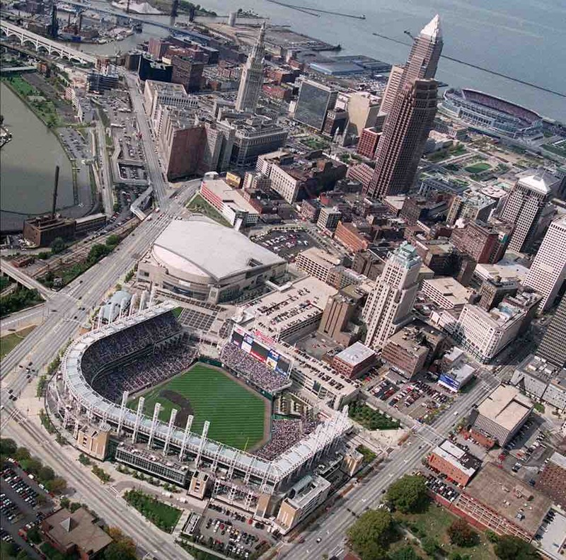 Jacobs Field with Browns Stadium in Distance, 1999
