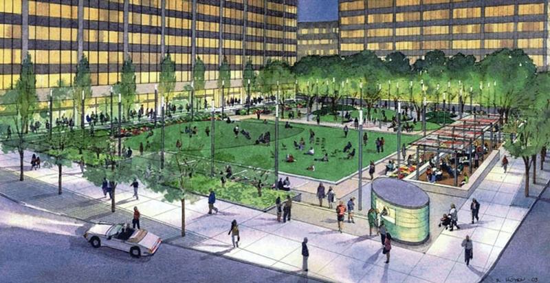 Architect's Rendering of Ralph J. Perk Plaza