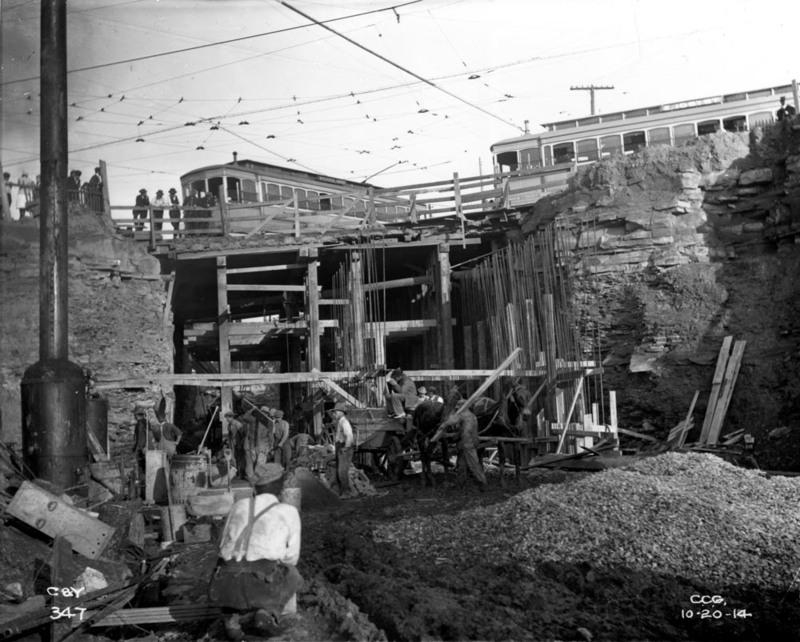 Streetcars Atop Bridge Over Shaker Rapid, 1915