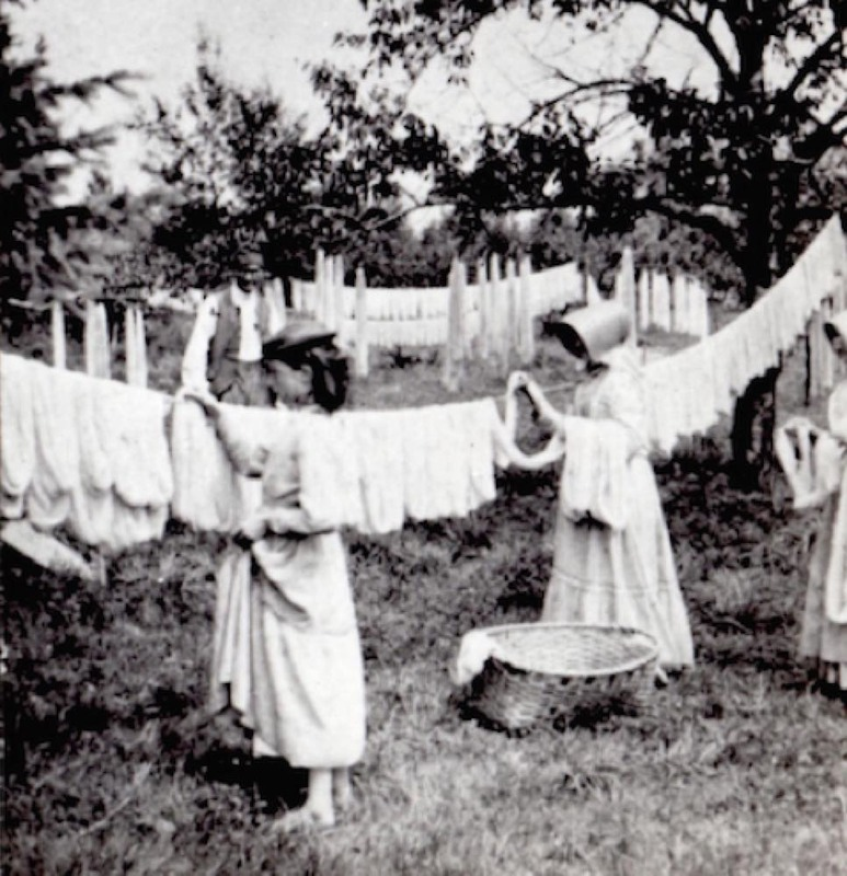 Shaker Sisters Drying Yarn, 1876