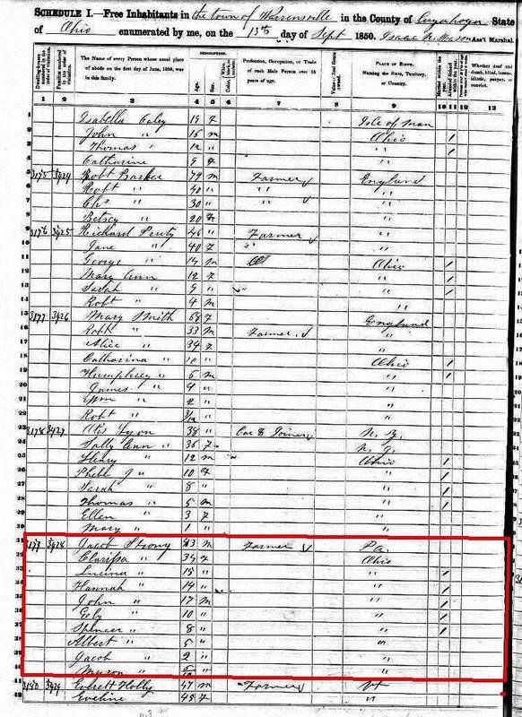 1850 U.S. Census - Warrensville Township