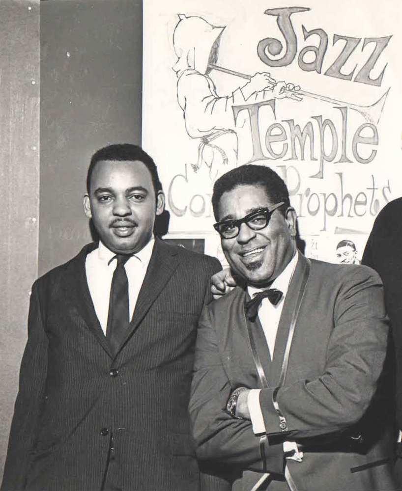 Winston Willis, Dizzy Gillespie in rear of Jazz Temple Building