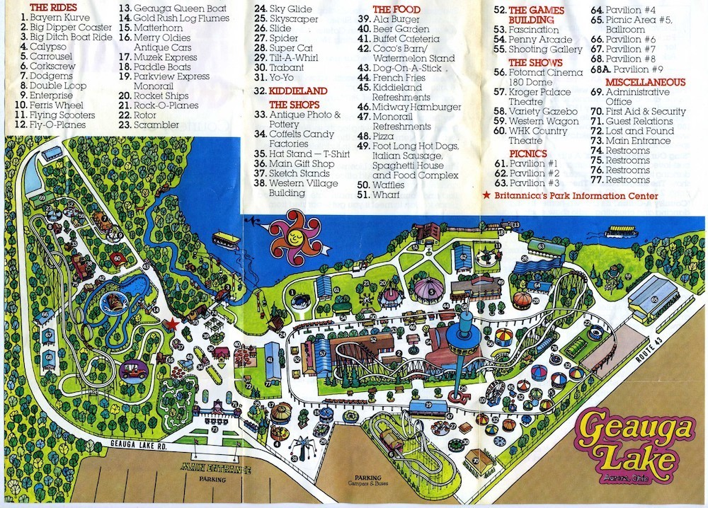 Geauga Lake Map, 1981