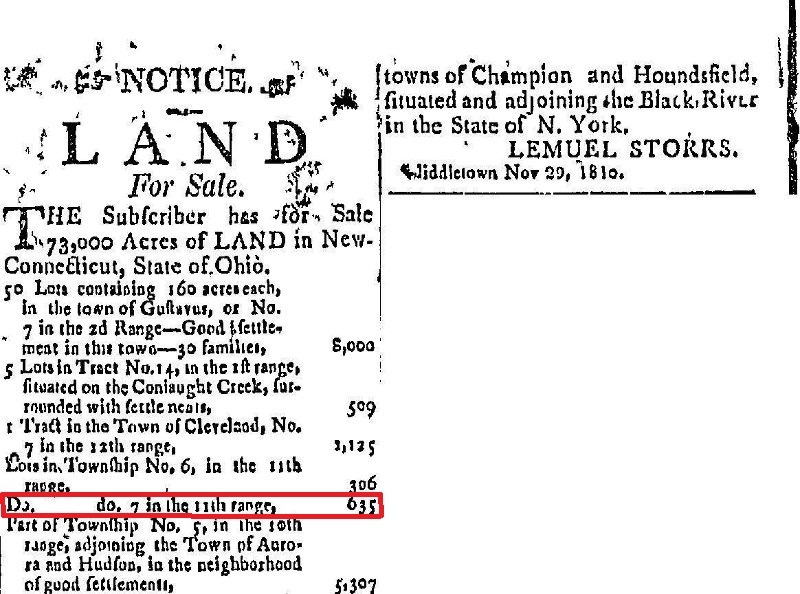 Land for Sale in the Connecticut Reserve