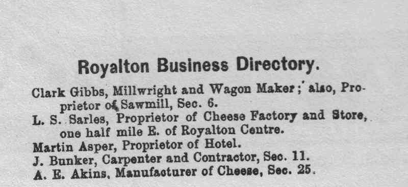 Royalton Business Directory, 1874