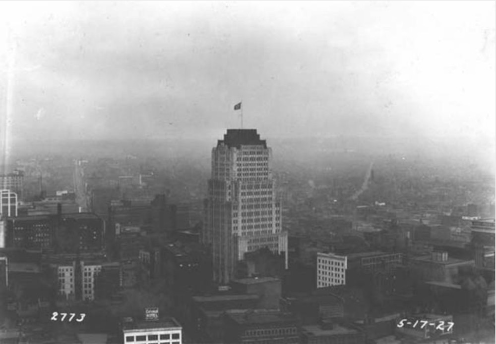 Aerial view of the Ohio Bell Telephone Building, 1927