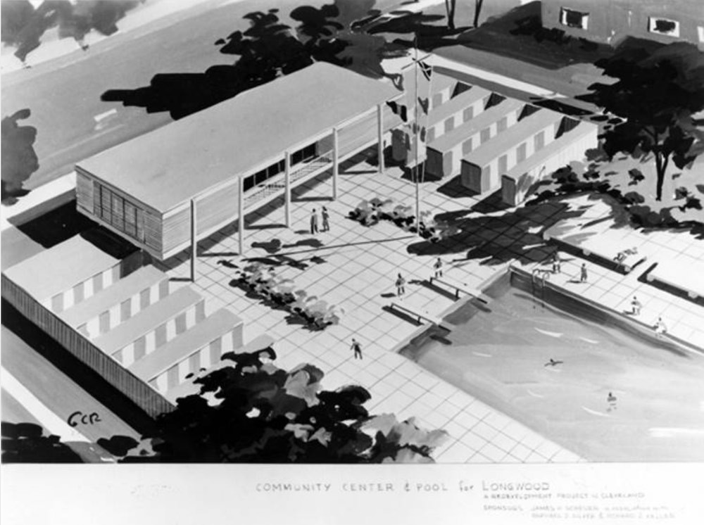 Plan for Longwood Community Center and Pool, 1957