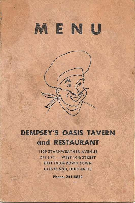 Old Menu from Dempsey's Oasis