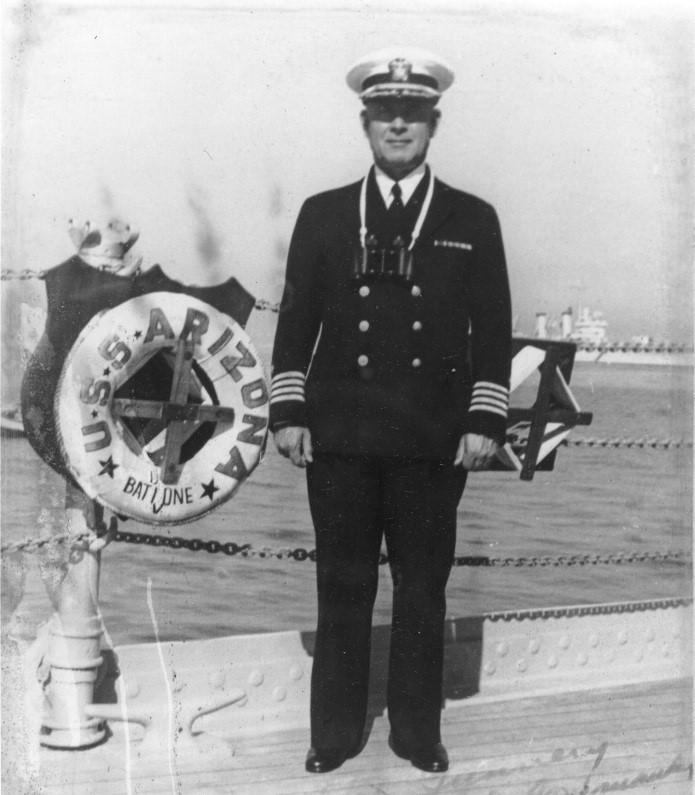 Admiral Kidd on the deck of the USS Arizona