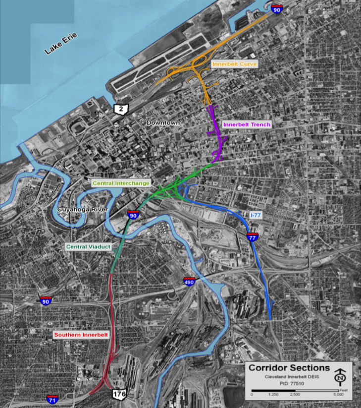 The Cleveland Inner Belt Path Through Downtown