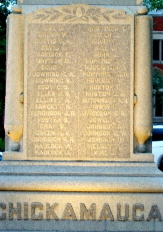 Soldiers' Names on Side of Memorial