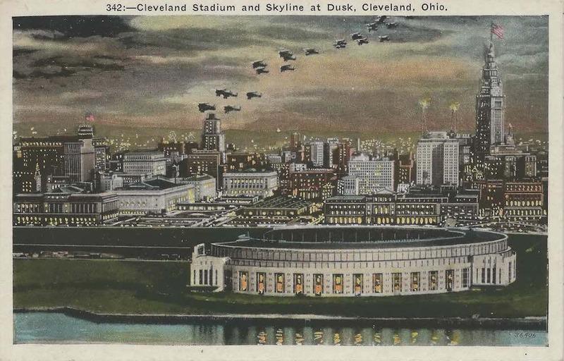 Cleveland Municipal Stadium and Skyline, 1930s