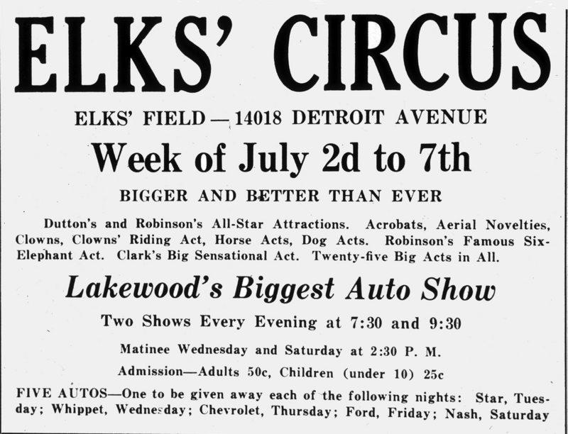 Elks Circus, ca. 1930s
