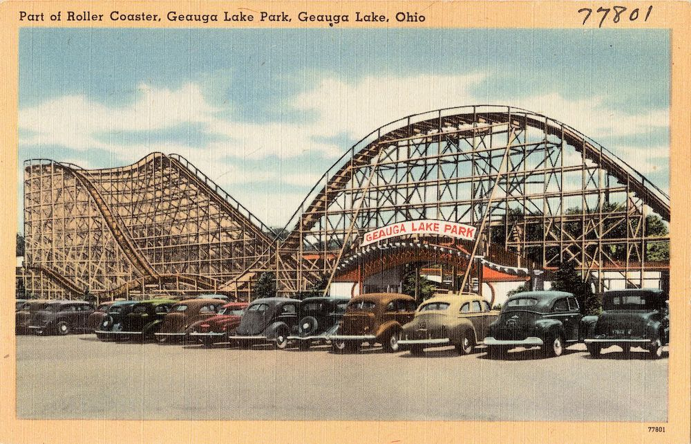 Park Entrance and Roller Coaster, 1930s