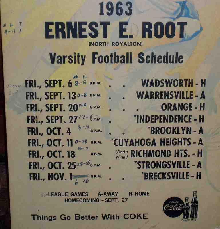 Bears Football Schedule, 1963