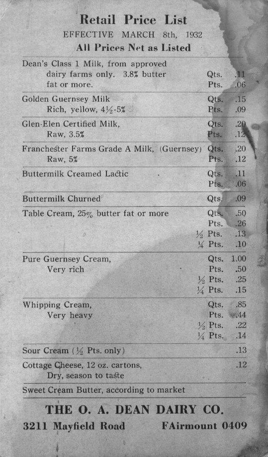 Price List, 1932
