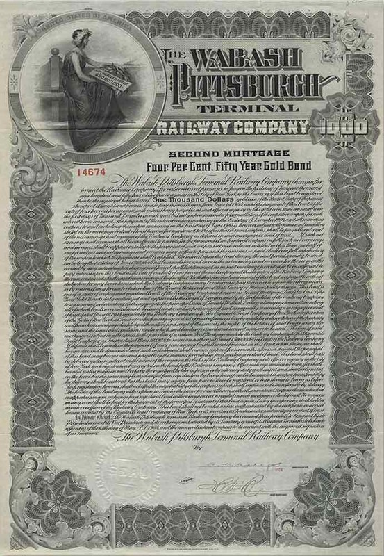 Wabash Pittsburgh Terminal Railway Bond