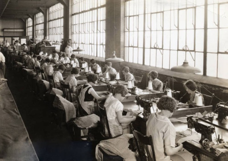 Workers at Sewing Machines inside Richman Bros., 1928