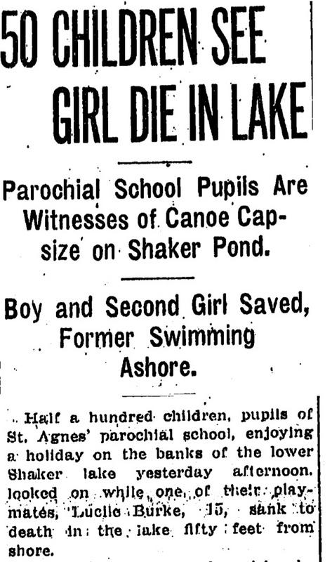 """""""50 Children See Girl Die in Lake"""", 1913"""