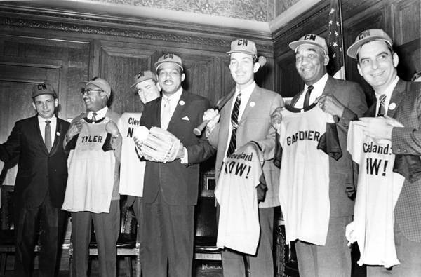 Mayor Carl B. Stokes and Administration Pose with Cleveland: Now! Shirts