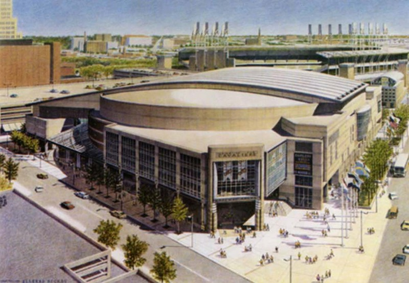 Rendering of Gund Arena and Jacobs Field, 1992