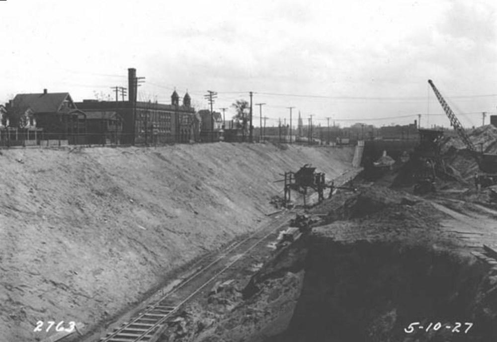 Railed Excavation Through Duck Island, 1927