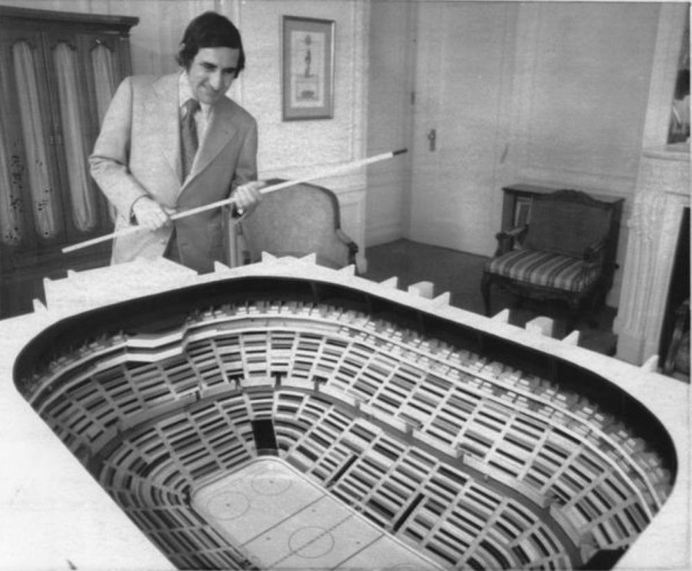 Nick Mileti Viewing Richfield Coliseum Model