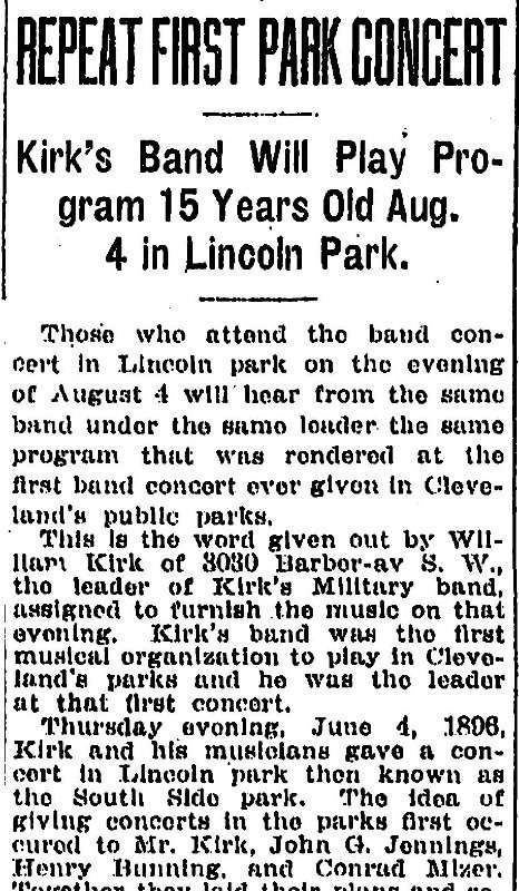 The first Concert in the Park held in Cleveland