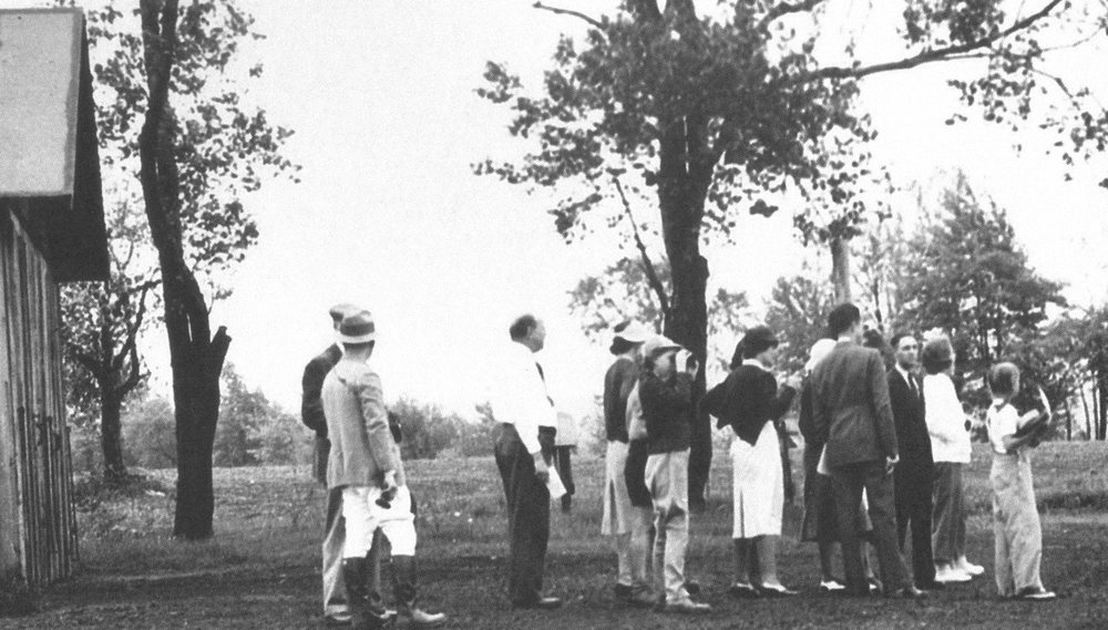 """Enraptured birdwatchers """"flock"""" to the Holden Arboretum shortly after its 1937 opening. Photo courtesy of Holden Forests & Gardens"""