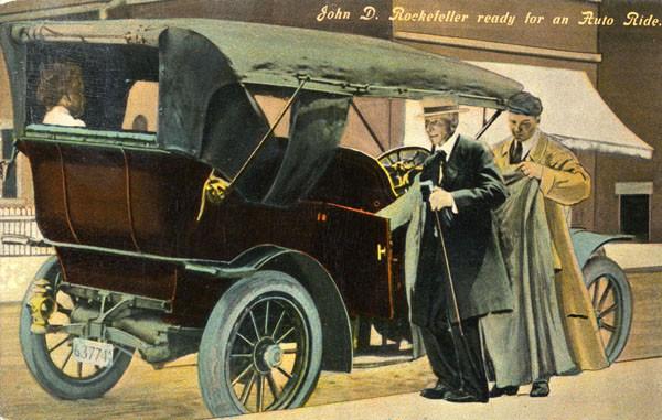 John D. Rockefeller ready for an auto ride 1911