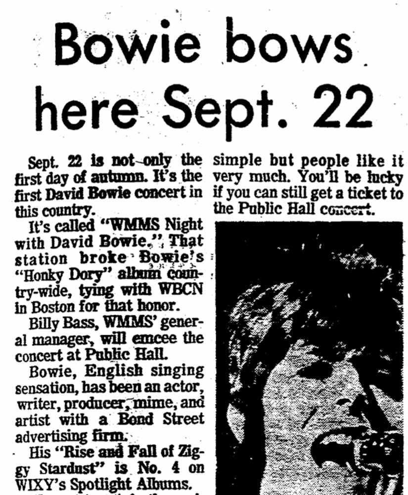 Bowie Bows Here Sept. 22