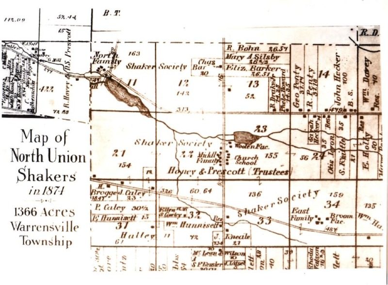 1874 Map of North Union Shaker Settlement