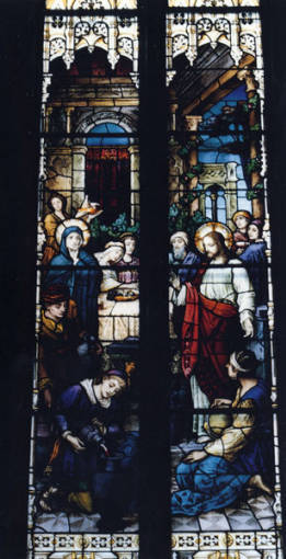 Stained Glass: Christ at the Marriage Feast at Cana.