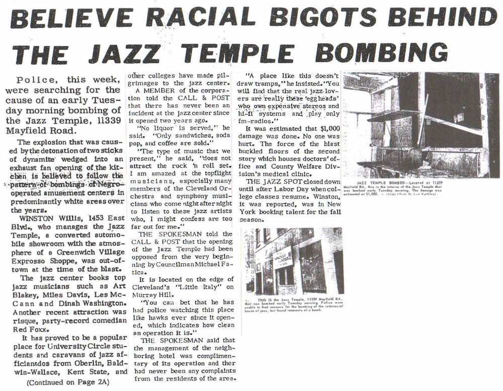 Front Page Newspaper Headline on Jazz Temple Bombing