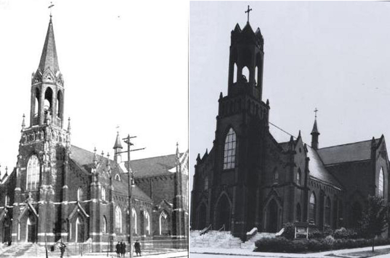 Two views of the second St. Ladislas Church