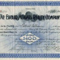 Euclid Heights Stock Certificate, 1903